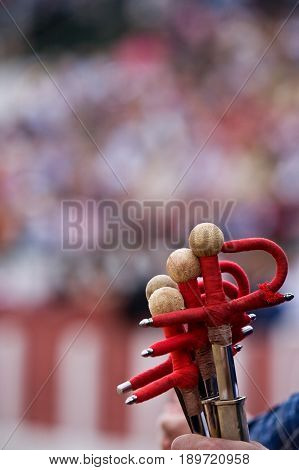 Some swords of fighting during bullfighting celebration, Spain