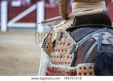 Picador bullfighter lancer whose job it is to weaken bull's neck muscles in the bullring for Jaen Spain