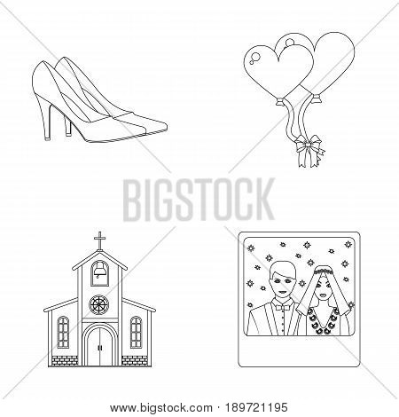 Elegant wedding shoes with heels, balloons for the ceremony, a church with a stained-glass window and a bell, a picture of the bride and groom. Wedding set collection icons in outline style vector symbol stock illustration .