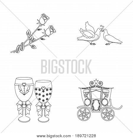 Two red roses with rings, pigeons kissing with hearts, wedding glasses with bows and champagne, a carriage for a festive ceremony. Wedding set collection icons in outline style vector symbol stock illustration .