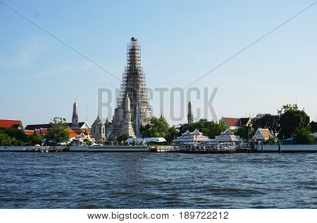 Ancient Wat Arun Bangkok May 2017. Wat Arun is a famous temple and historical landmark of Thailand