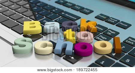 Back To School On A Laptop Keyboard. 3D Illustration