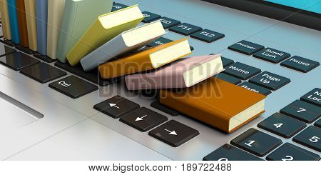 Books Stacked On A Laptop Keyboard. 3D Illustration