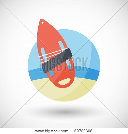 Torpedo buoy lifeguard icon Flat design of swimming safety with round shadow vector illustration