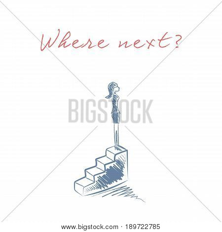 Businesswoman standing on top of stairs as a symbol of business career progress, promotion, corporate ladder. Success story and achievement abstract. Eps10 vector illustration.