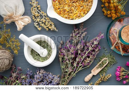 Medicinal Herbs, Mortar Of Healing Herbs, Sachet And Bottle Of Drugs On Wooden Table. Herbal Medicin