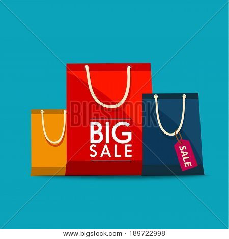 Shopping Bags Design Icon. Shopping bags to promote sales. Vector stock.