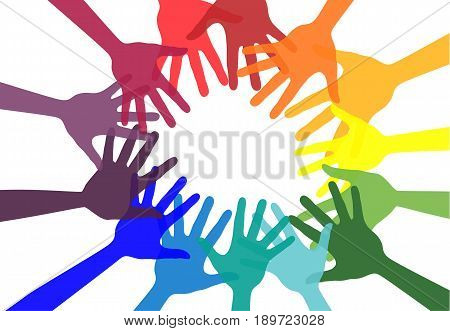 Handshake and friendship icon. Colorful hands. Concept of democracy. Vector stock.