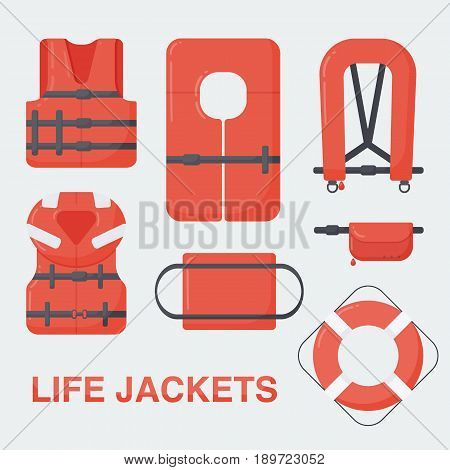Life jackets set Flat design of different types of floatation devices vector illustration