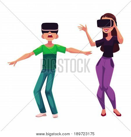 Boy and girl wearing virtual reality headsets, cartoon vector illustration isolated on white background. Girl and boy playing with virtual reality simulators, headsets together