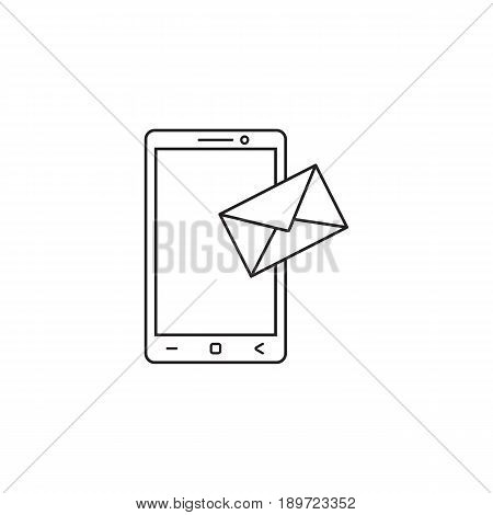 Mobile mail line icon, sms sign, message, social media, vector graphics, a linear pattern on a white background, eps 10.