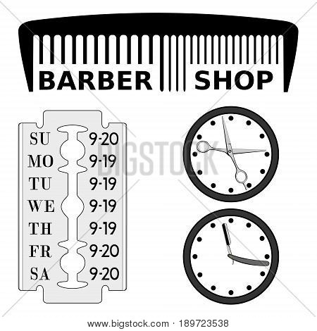 Barbershop signboard and schedule. Scissors and a razor can be animated. No fonts, everything is drawn.