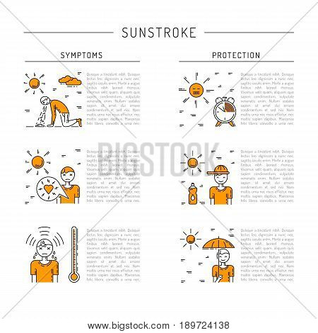 Vector banner with place for text on the subject of sunstroke, symptoms and protection