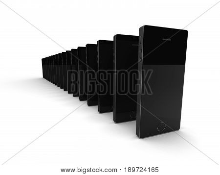The conveyor of smartphones isolated on white background. High quality 3d render.