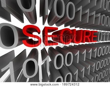 Secure in the form of binary code isolated on white background. High quality 3d render.