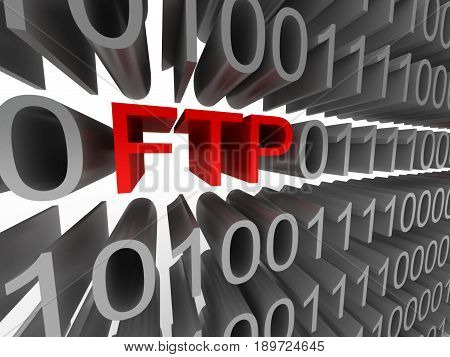 FTP in the form of binary code isolated on white background. High quality 3d render.