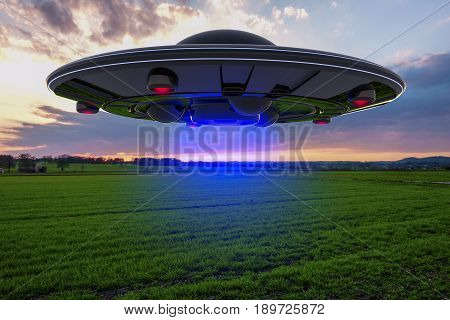 An unidentified flying object floats over the ground (ufo 3d rendering)