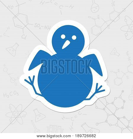 Little chicken nestling sitting. Vector flat sticker bird icon on white background