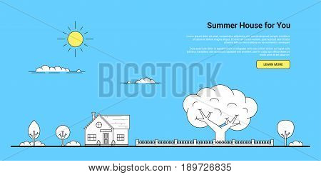 Picture of a private family house with trees, fence and clouds. Real estate, family house, summer house concept. Thin line flat illustration