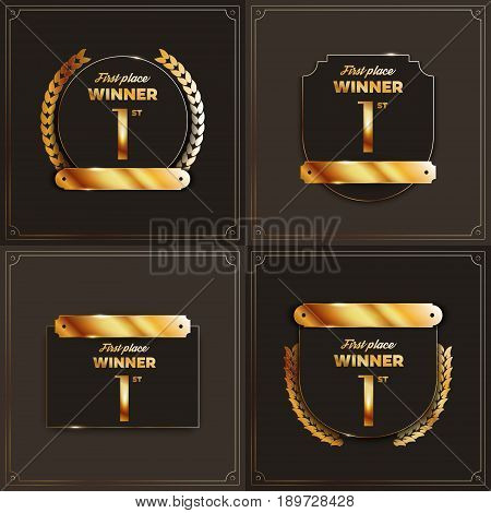 1st place logo's with laurels and ribbons. Vector illustration.