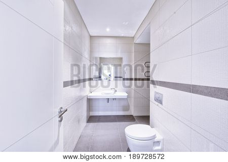 Modern interior of the bathroom in the new house
