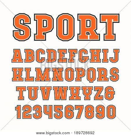 Serif font in sport style with contour. Typeface design for t-shirts and titles. Isolated on white background