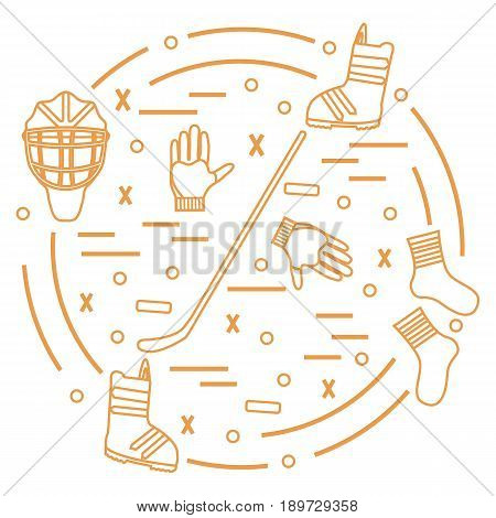 Vector Illustration Of Various Subjects For Hockey And Snowboarding Arranged In A Circle. Including