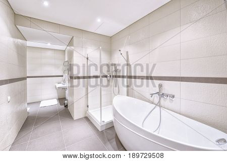 Modern interior of the bathroom in the new house.