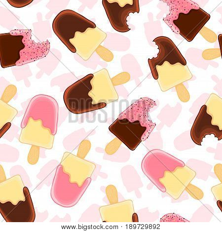 Seamless pattern with whole and bitten vanilla popsicle. Chocolate and raspberry icing. Summer texture for textile, fabric, wallpaper.