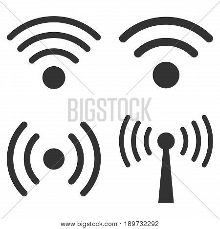 Wi-Fi Signal vector icon set. Collection style is gray flat symbols on a white background.
