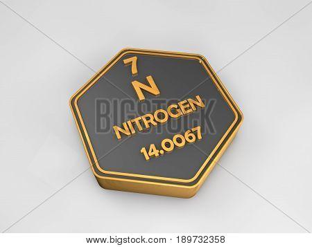 Nitrogen - N - chemical element periodic table hexagonal shape 3d illustration