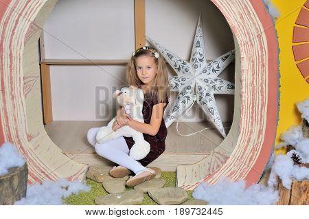 cute cheerful little girl portrait in studio