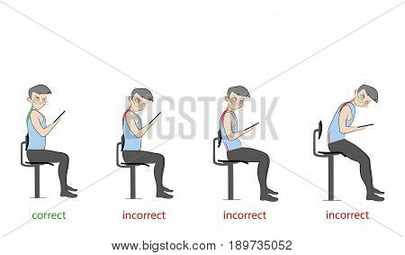 Correct and incorrect inclination of the neck when working with a smartphone (tablet). Hand drawn cartoon vector illustration for design and infographics.