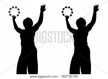 Woman with tambourine. Isolated white background. EPS file available.
