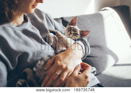 Happy young woman with her Devon Rex cat. Home pets. Young woman is holding and hugging her cute curious Devon Rex cat.