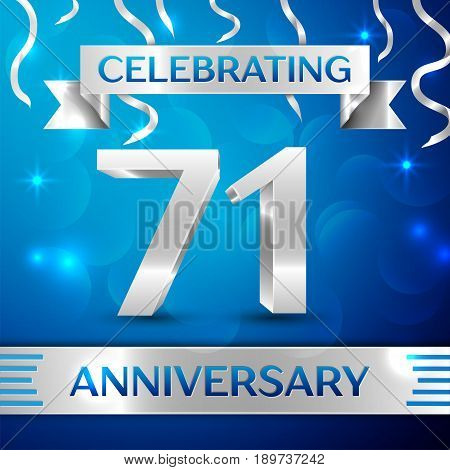 Seventy one Years Anniversary Celebration Design. Confetti and silver ribbon on blue background. Colorful Vector template elements for your birthday party. Anniversary ribbon