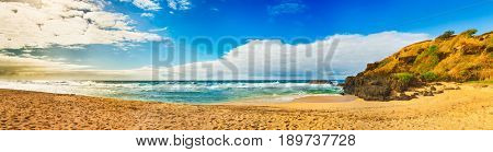 Gris-Gris beach at sunrise. Mauritius. Panorama