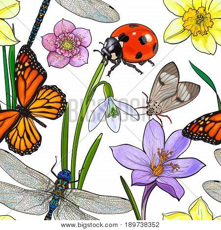 Seamless pattern of summer insects and flowers, sketch vector illustration on white background. Hand drawn seamless pattern, background, wrapping paper design with summer insects and flowers