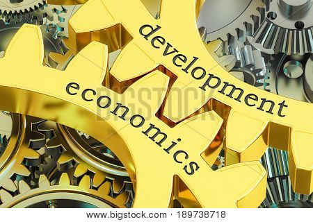 Development Economics concept on the gearwheels 3D rendering