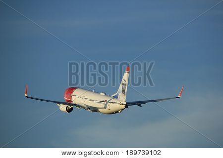 Amsterdam the Netherlands - June 1st 2017: EI-FJV Norwegian Air International Boeing 737-800 taking off from Polderbaan Runway Amsterdam Airport Schiphol