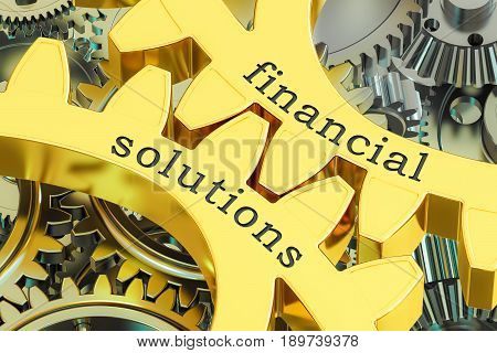 Financial Solutions concept on the gearwheels 3D rendering