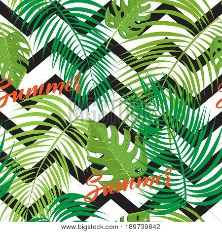 Vector Illustration of an Abstract Seamless Background with Tropical Leaves and modern brush lettering Hello Summer