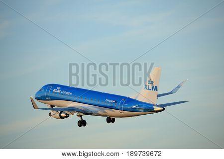Amsterdam the Netherlands - June 1st 2017: PH-EXM KLM Cityhopper Embraer ERJ-175 taking off from Polderbaan Runway Amsterdam Airport Schiphol
