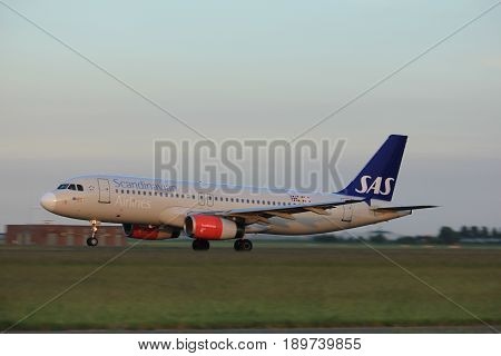 Amsterdam the Netherlands - June 1st 2017: OY-KAU SAS Scandinavian Airlines Airbus A320 taking off from Polderbaan Runway Amsterdam Airport Schiphol
