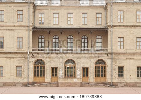 Gatchina, Leningrad region, Russia - 03, June, 2017. A fragment of the Gatchina Palace - residence of Russian emperors in the suburbs of St. Petersburg.