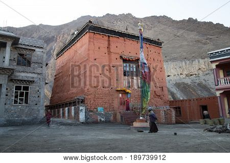 Kagbeni, Nepal - November 02, 2014: An old tibetan monastery or gompa in the Annapurna region