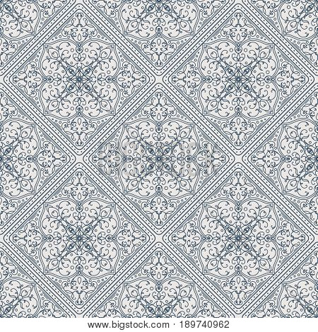 Seamless texture with arabic geometric ornament. Vector vintage lineart pattern