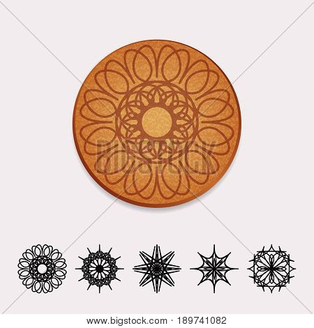 Vector illustration of cork beer coaster with circular flower ornament
