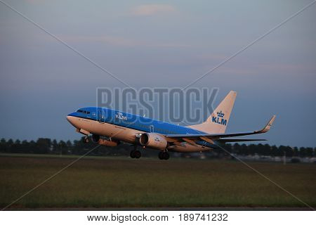 Amsterdam the Netherlands - June 1st 2017: PH-BGQ KLM Royal Dutch Airlines Boeing 737-700 taking off from Polderbaan Runway Amsterdam Airport Schiphol