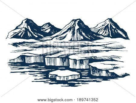 Iceland group mountains on the island. Glacier in the foreground and the cliffs on the horizon. sketch vector.